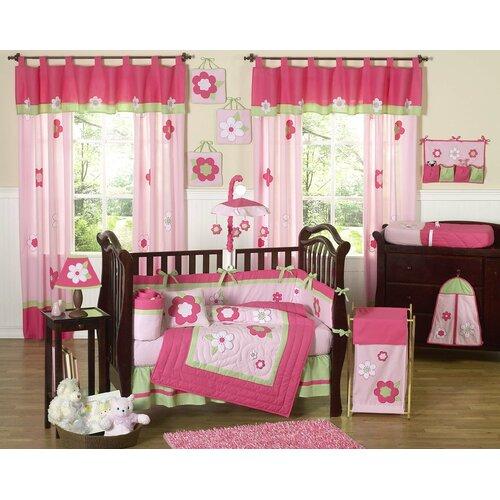 Sweet Jojo Designs Flower Pink Green Crib Bedding Collection