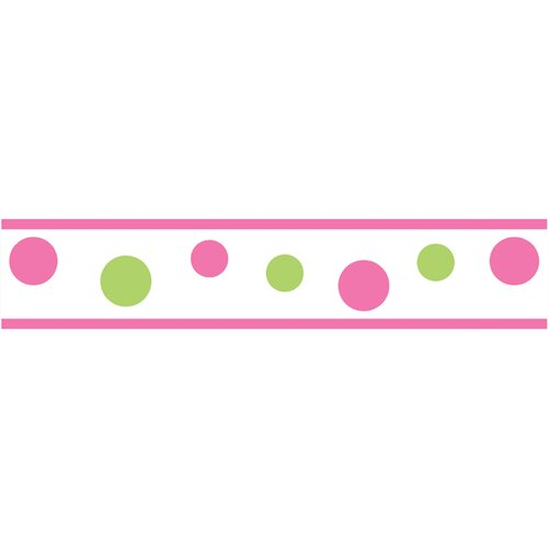 Sweet Jojo Designs Circles Pink Polka Dot Wallpaper Border