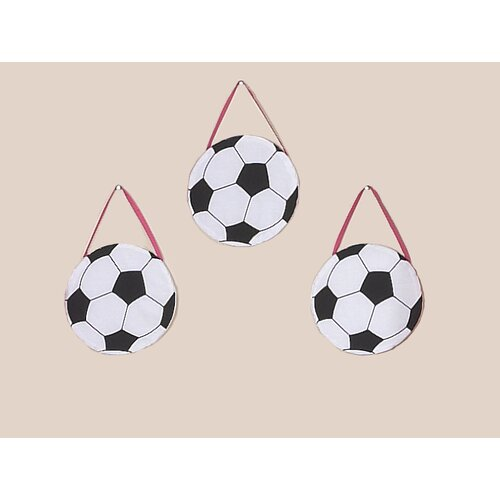 3 Piece Soccer Pink Collection Wall Hanging Set