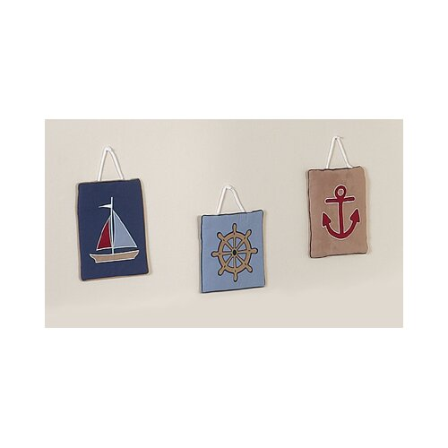 Sweet Jojo Designs 3 Piece Nautical Nights Collection Wall Hanging Set