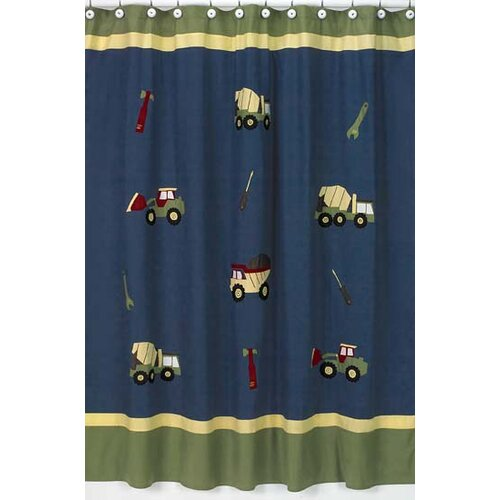 Sweet Jojo Designs Construction Cotton Shower Curtain