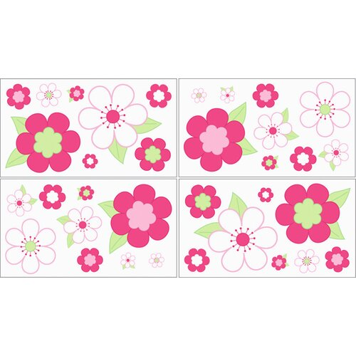 Flower Pink & Green Wall Decal 4 piece set