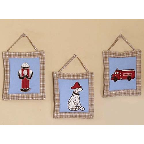 Sweet Jojo Designs 3 Piece Fire Truck Hanging Art Set