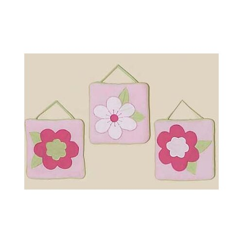 Sweet Jojo Designs 3 Piece Flower Pink and Green Wall Hanging Set