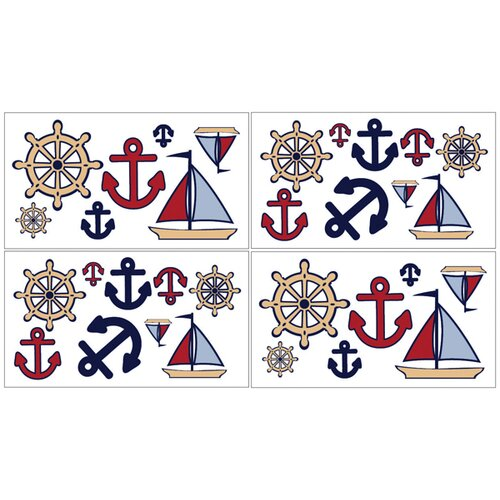 Sweet Jojo Designs Nautical Nights Wall Decal 4 piece set
