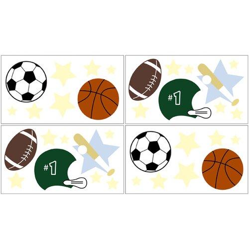 Sweet Jojo Designs Play Ball Sports Wall Decal 4 piece set