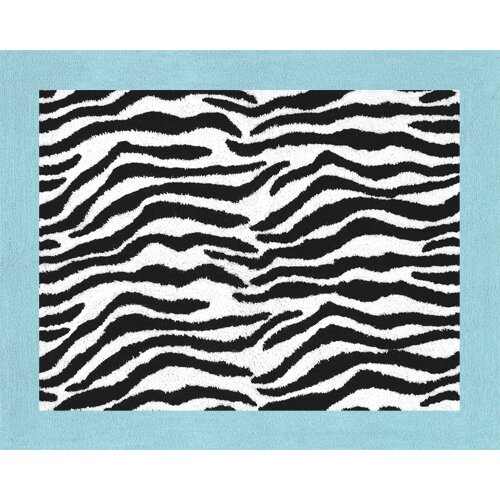 Sweet Jojo Designs Zebra Turquoise Collection Floor Rug