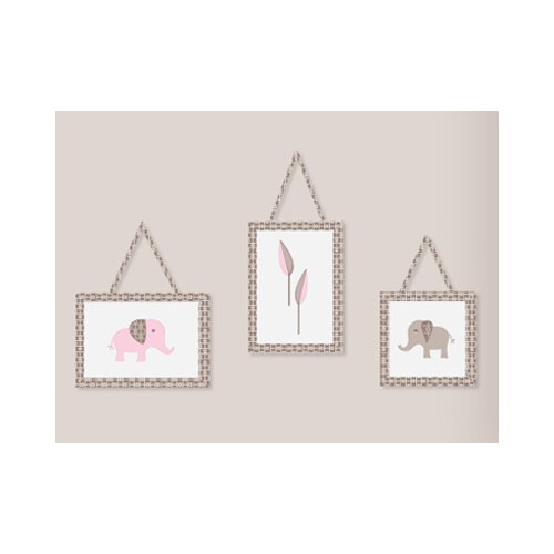 Sweet Jojo Designs Pink and Taupe Mod Elephant Wall Hanging Art