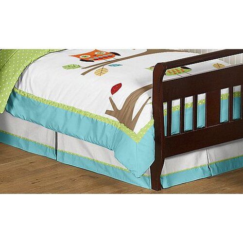 Hooty Turquoise and Lime Toddler Bed Skirt