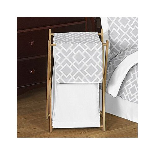 Diamond Gray and White Laundry Hamper