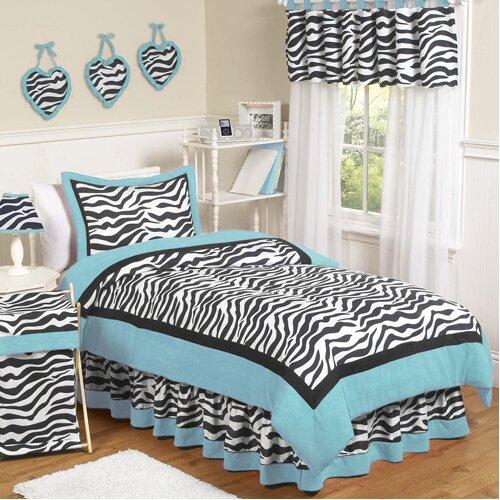 Sweet Jojo Designs Zebra Turquoise Comforter Set