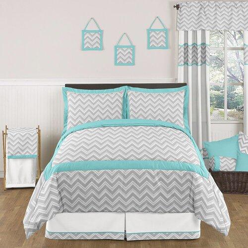 Zig Zag Turquoise and Gray Comforter Set