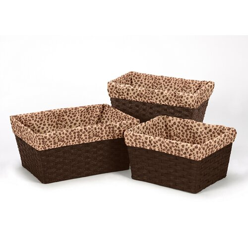 Cheetah Pink 3 Piece Basket Liner Set
