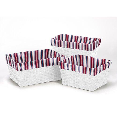 Nautical Stripe Print 3 Piece Basket Liner Set