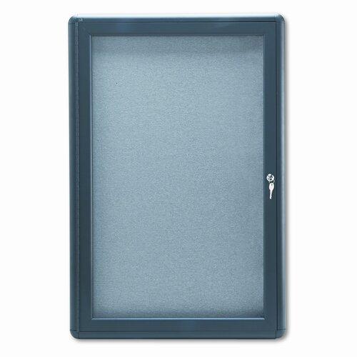 Quartet® Enclosed Fabric Covered Cork Bulletin Board, 24 x 36, Gray, Aluminum Frame