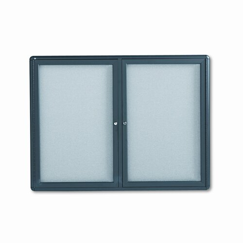 Quartet® Enclosed Bulletin Board, Fabric Covered Cork, 48 x 36, Gray, Aluminum Frame