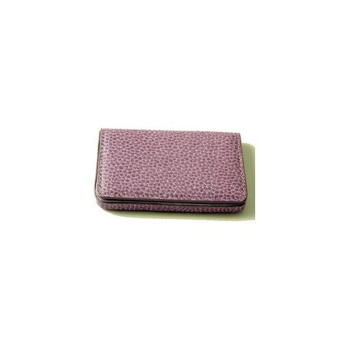 Budd Leather On the Go Pebble Grain Magnetic Business Card Case in Purple