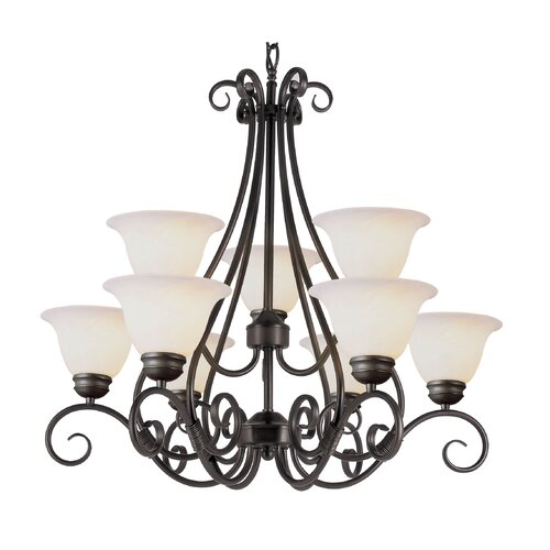 TransGlobe Lighting 9 Light Chandelier with Marbleized Shade
