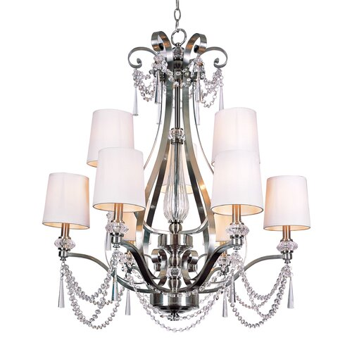 TransGlobe Lighting 9 Light Chandelier with Crystal Shade