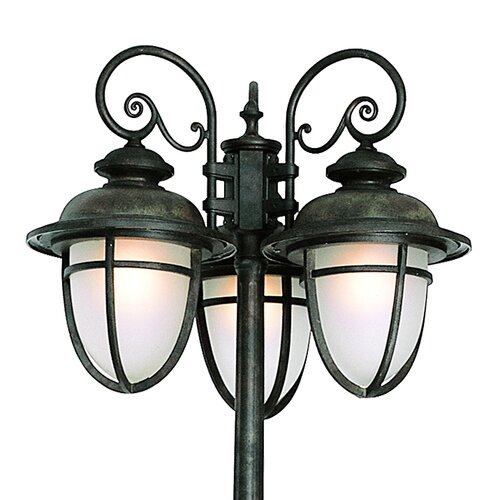 "TransGlobe Lighting Outdoor 3 Light 78"" Post Lantern Set"