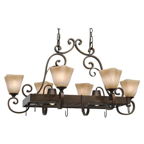 Golden Lighting Meridian Chandelier Pot Rack with 8 Light