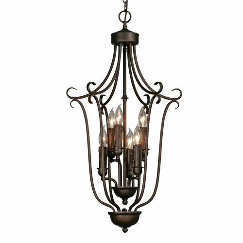Golden Lighting Multi Family Caged Foyer Pendant