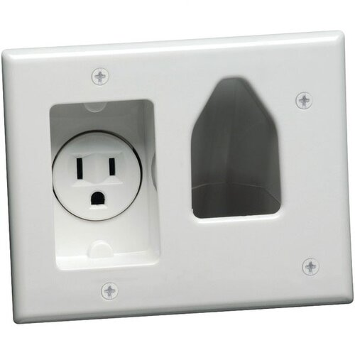 DataComm Electronics 2 Gang Recessed Low Voltage Cable Plate with Recessed Power in White
