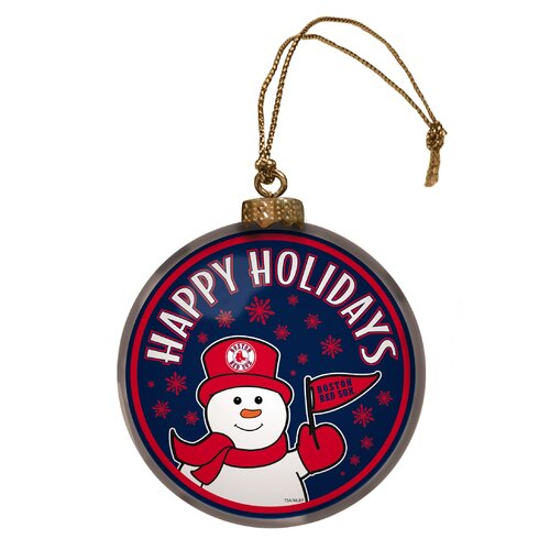 MLB Glass Disc Snowman Ornament