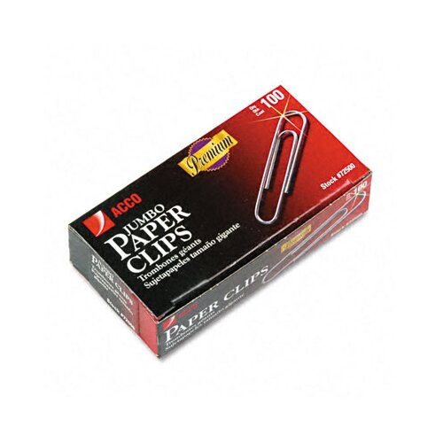 Acco Brands, Inc. Smooth Finish Premium Paper Clips, Wire, Jumbo, Silver, 100/Box
