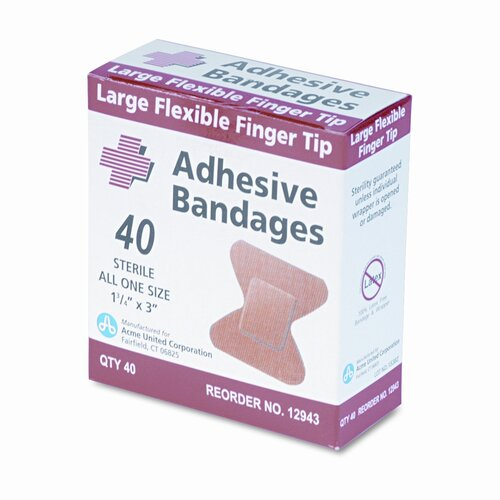 Acme United Corporation Flexible Large Fingertip Adhesive Bandages, 1-3/4 x 3, 40 per Box