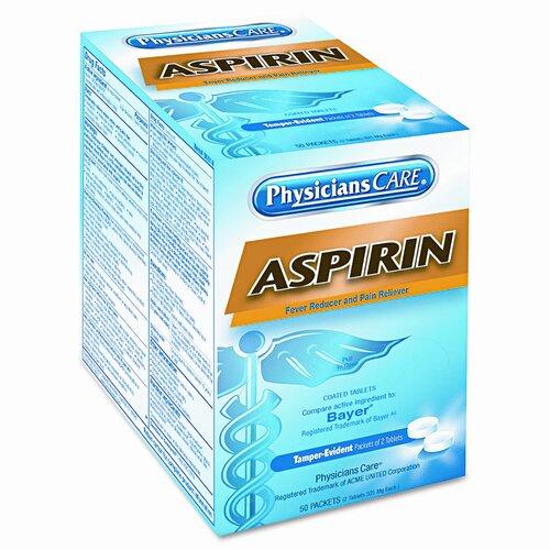 Acme United Corporation Physicianscare Aspirin Medication, 50 Doses