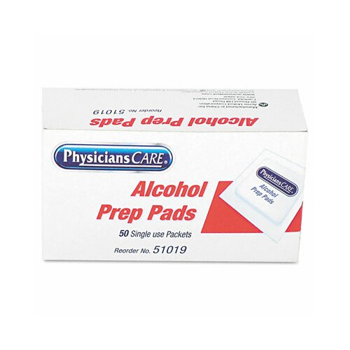Acme United Corporation Physicianscare First Aid Alcohol Pads, Box of 50