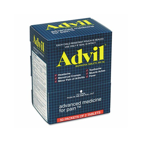 Acme United Corporation Advil Ibuprofen Tablets, 50 2-Packs/Box