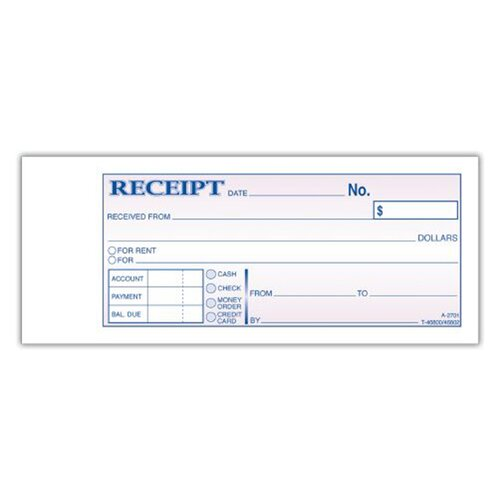 "Adams Business Forms 2.75"" x 7.19"" 2 Part Duplicate Carbonless Receipt Book"