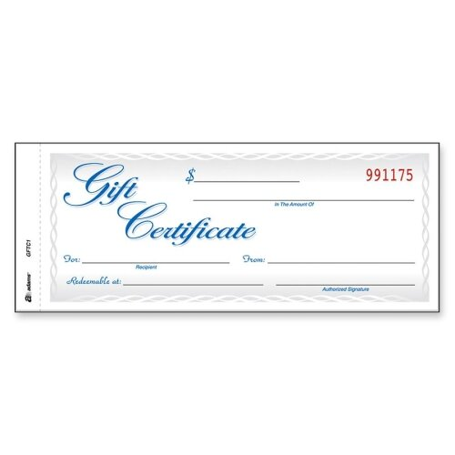 "Adams Business Forms Gift Certificates, 2-Part, Carbonless, 8-1/2""x3-4/10"", 25 per Pack"
