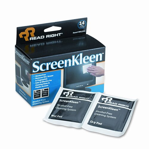 Advantus Corp. Read Right Screenkleen Alcohol-Free Wipes, Cloth, 5 X 5, 14/Box