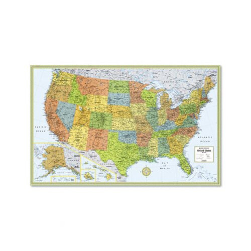 Advantus Corp. M-Series Full-Color Laminated United States Wall Map, 50 x 32