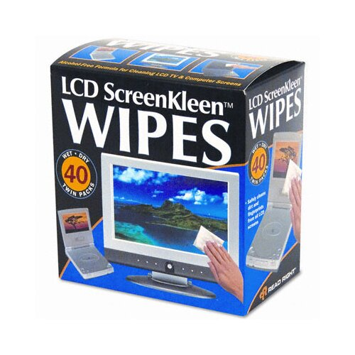 Advantus Corp. Read Right Screenkleen Alcohol-Free Wet Wipes, Cloth, 5 X 5, 40/Box