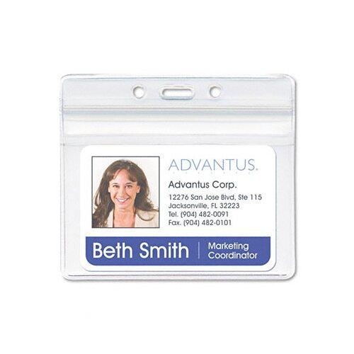 Advantus Corp. Resealable Id Badge Holder, Horizontal, 3 3/4W X 2 5/8H, 50/Pack