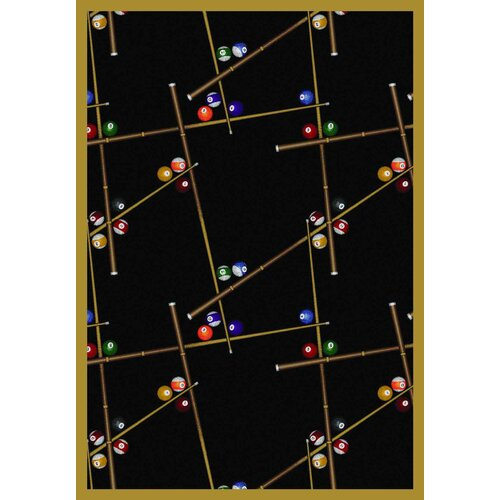 Gaming and Entertainment Snookered Black Novelty Rug