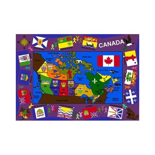 Joy Carpets Educational Flags of Canada Kids Rug