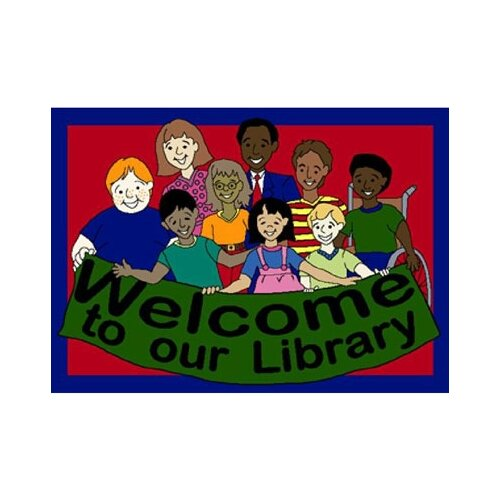 Joy Carpets Educational Welcome to Our Library Area Rug