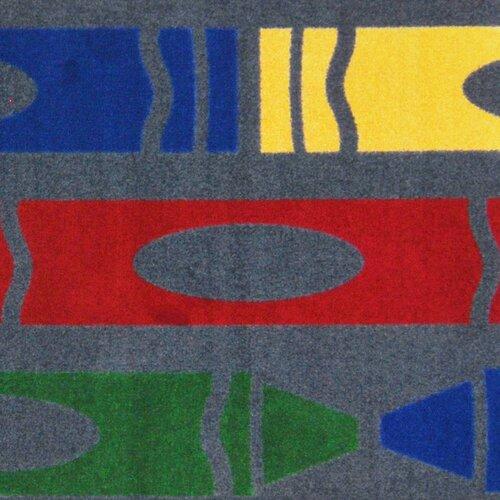 Joy Carpets Playful Patterns Jumbo Crayons Grey Area Rug