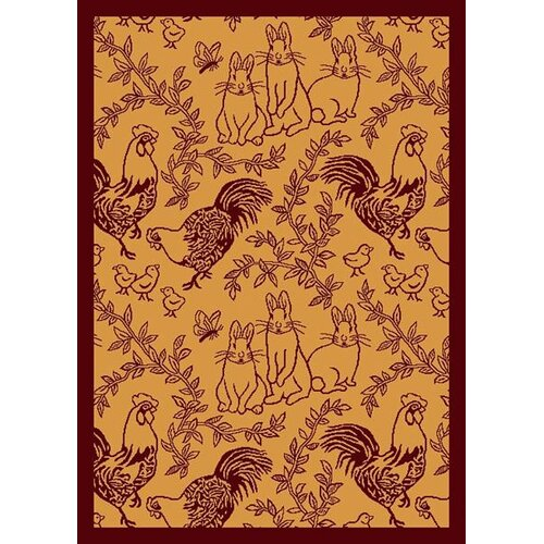 Joy Carpets Nature Feathers and Fur Rust Kids Rug