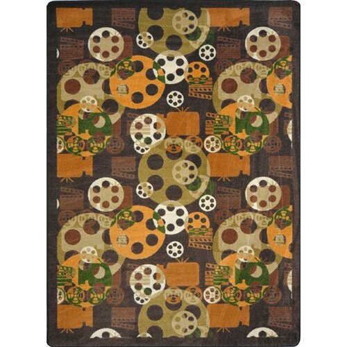 Joy Carpets Gaming and Entertainment Blockbuster Brown Area Rug