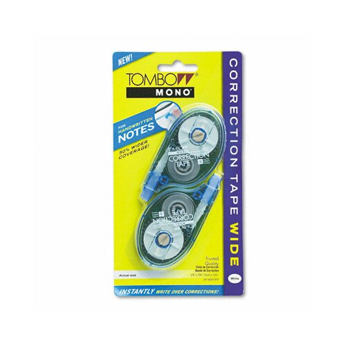 "Tombow Mono Wide Width Correction Tape, Non-Refillable, 1/4"" x 394"", White, Two/pack"