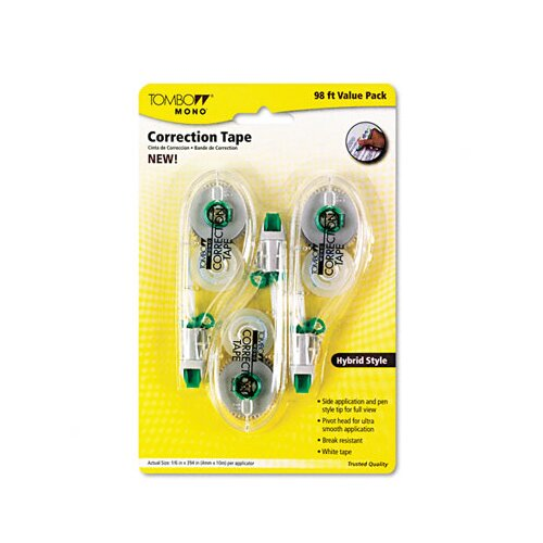 "Tombow Mono Hybrid-Style Correction Tape, Non-Refillable, 1/6"" X 394"", 3/Pack"