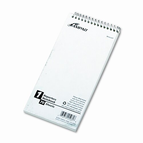 AMPAD Corporation Reporter Spiral Notebook, Pitman Rule, 4 x 8, White, 70 Sheets