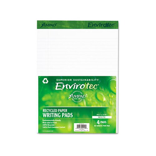 AMPAD Corporation Earthwise Envirotec Pad, Lgl/Wide Rule, 8-1/2 X 11-3/4, 4 40-Sheet Pads/Pack