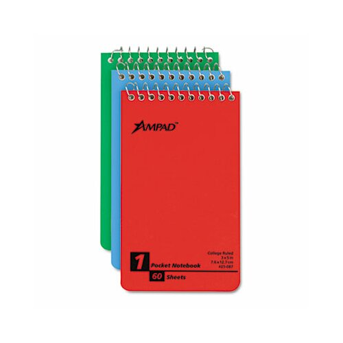 AMPAD Corporation Wirebound Pocket Memo Book, College/Narrow Rule, 3 x 5, WE, 60-Sheet, 3/pk
